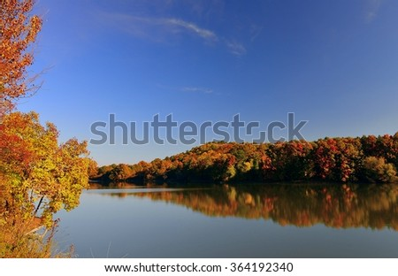 Beautiful autumn colored forest is reflecting at lakes still waters.