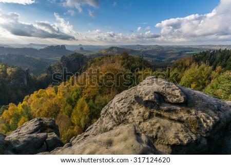 Beautiful autumn colours in Saxony Switzerland - stock photo