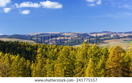 Beautiful autumn day in Carpathian mountains in Slovakia