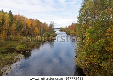 Beautiful autumn forest at the rivers coast - stock photo
