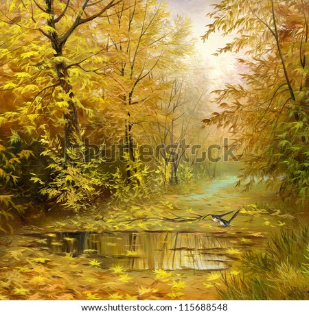 beautiful autumn landscape, canvas, oil - stock photo