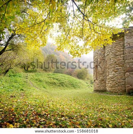 Beautiful autumn landscape near mountain - stock photo