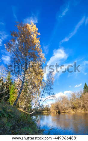 beautiful autumn landscape with the river, the forest and the blue sky - stock photo