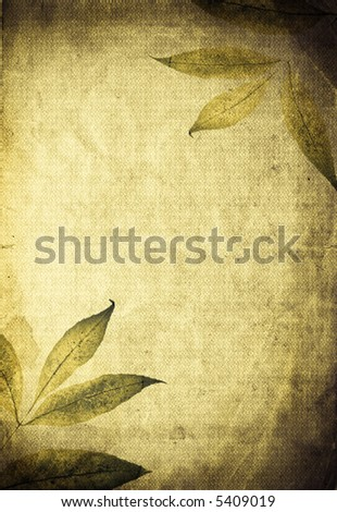 Beautiful autumn organic background. Leaves mixed with textured old paper - stock photo