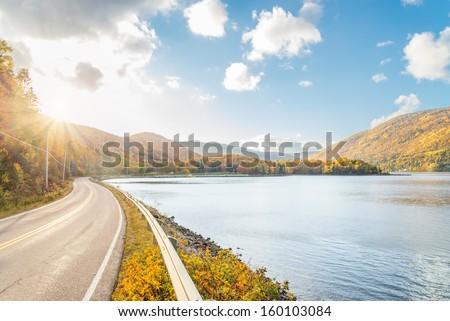 Beautiful autumn panorama  (Cape Breton, Nova Scotia, Canada) - stock photo