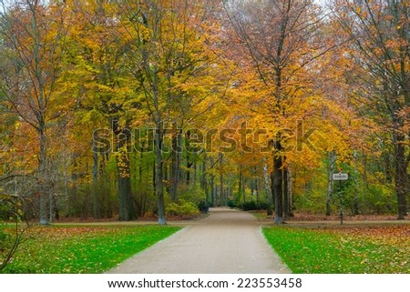 Beautiful autumn park in Berlin, Germany - stock photo