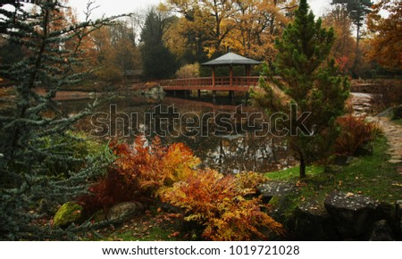 Beautiful autumn park in Wroclaw, Poland