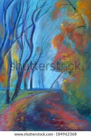 beautiful autumn park light fog - stock photo