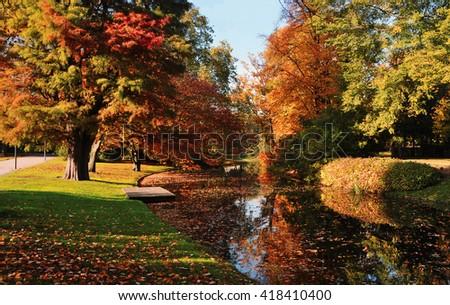 Beautiful autumn scene in Rotterdam city park, Netherlands - stock photo