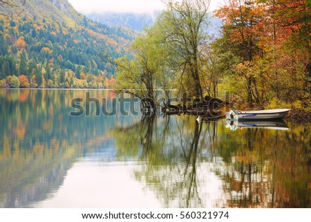 Beautiful autumn scenery at lake Bohinj, Triglav National Park, Julian Alps, Slovenia