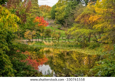 Beautiful autumn scenery in a park with a lake. - stock photo
