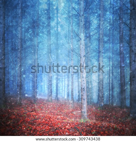 Beautiful autumn season forest with first snowfall. Snowfall in lovely red colored leaves forest with magic blue colored misty background. - stock photo