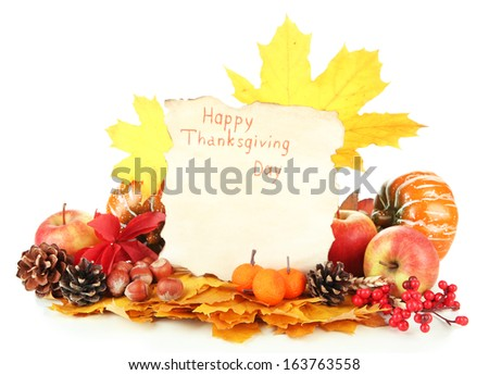 Beautiful autumn Thanksgiving Day composition, isolated on white - stock photo