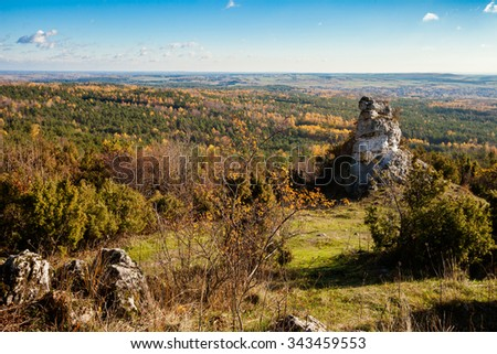 Beautiful autumn view of cracow - czestochowa upland. Limestone rocks in Poland