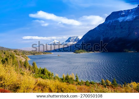 beautiful autumn view of Going to the Sun Road in Glacier National Park, Montana, United States - stock photo