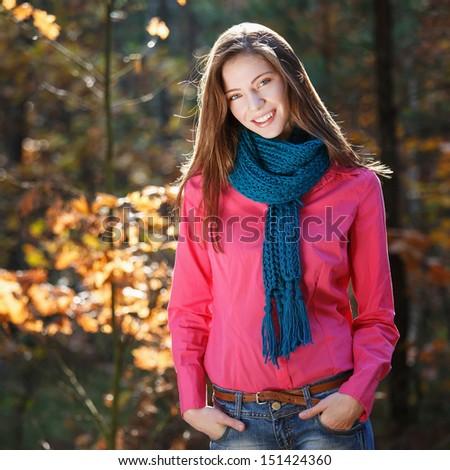 Beautiful autumn woman - stock photo