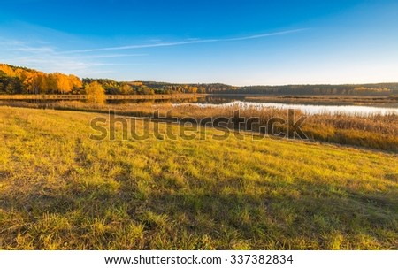 Beautiful autumnal landscape with grassland, trees and road. Tranquil autumnal afternoon. - stock photo