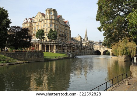 Beautiful Avon river in Bath, United Kingdom with a famous bridge - stock photo