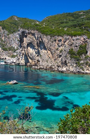 Beautiful azure sea with transparent turquoise water. Corfu, Greece - stock photo