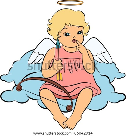 Beautiful baby angel with wings - stock photo