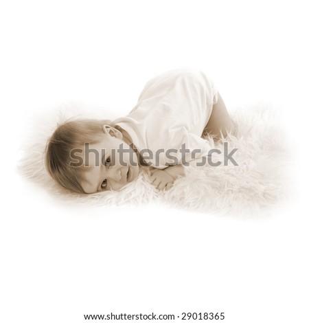 beautiful baby boy on white background (sepia toned) - stock photo