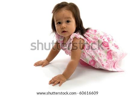 Beautiful Baby crawling on white background . - stock photo