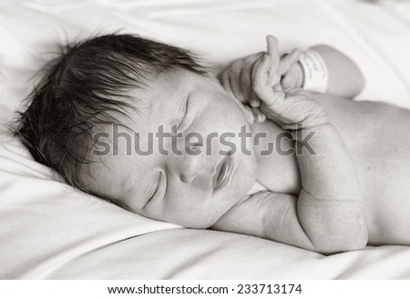 Beautiful baby girl newborn in the hospital