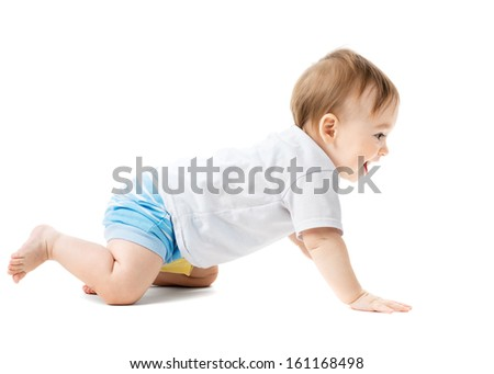 beautiful baby in a shirt crawling and laughing - stock photo