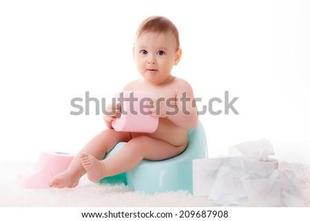 beautiful baby on the pot - stock photo