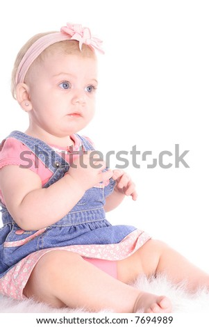 beautiful baby on white - stock photo