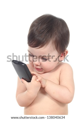 Beautiful baby playing with a smart phone isolated on a white background