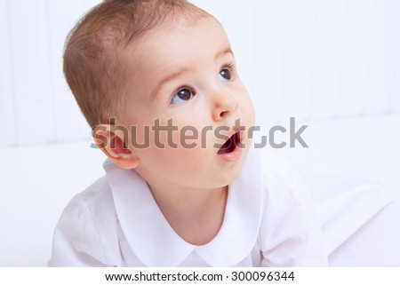 Beautiful baby portrait on white background