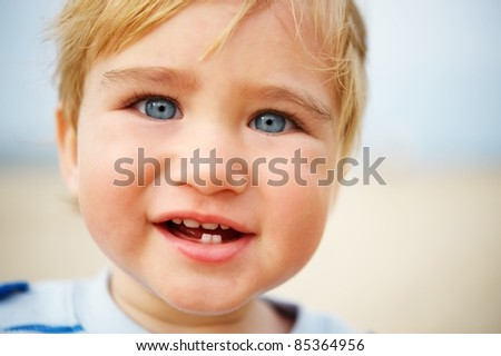 Beautiful baby portrait outdoors - stock photo