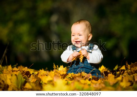 Beautiful baby sitting and playing  in fallen leaves - fall scene
