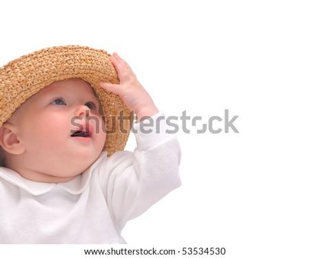 beautiful baby, straw hat, isolated on white - stock photo