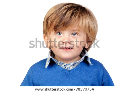 Beautiful baby with blue jersey isolated on white background