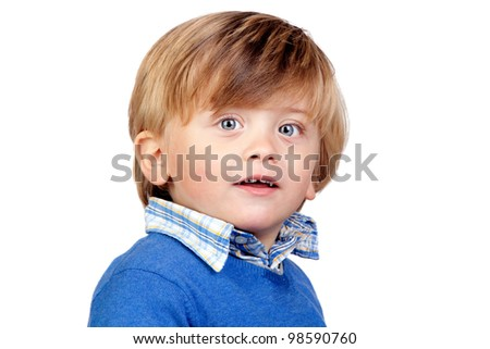 Beautiful baby with blue jersey isolated on white background - stock photo