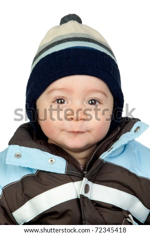 Beautiful baby with wool cap isolated on white background