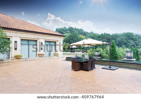 beautiful back yard in modern holiday hotel,which locate in hangzhou - stock photo