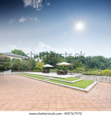 beautiful back yard in modern villa village,which locate in hangzhou - stock photo