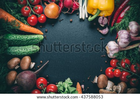 Beautiful background healthy organic eating. Studio photography the frame of different vegetables and mushrooms on vintage table with free space for you text