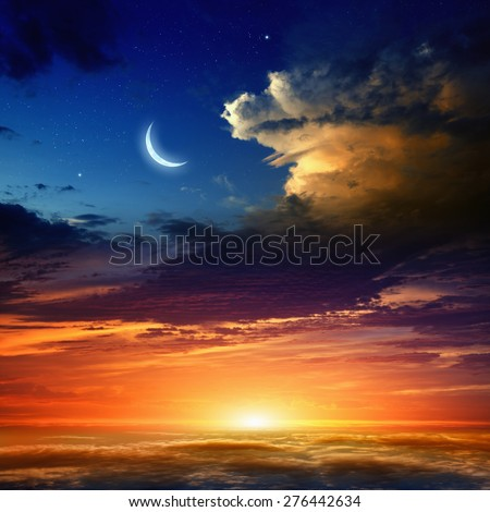 Beautiful background - new moon in dark blue sky with stars, glowing sunset clouds. Elements of this image furnished by NASA - stock photo