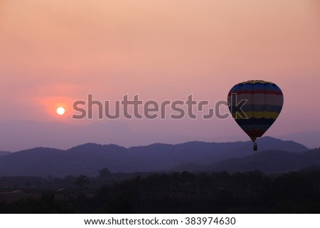 Beautiful background of balloon and sunset.