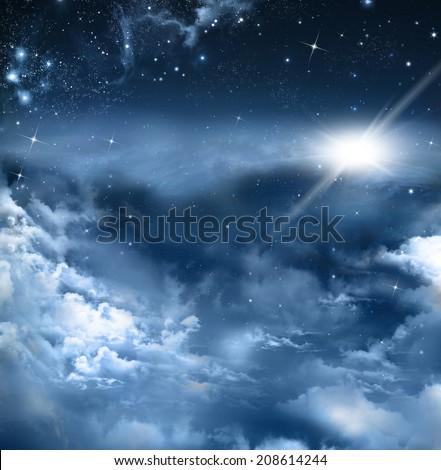 beautiful background of the night sky - stock photo