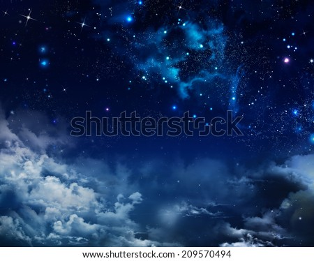 beautiful background of the night sky with stars - stock photo