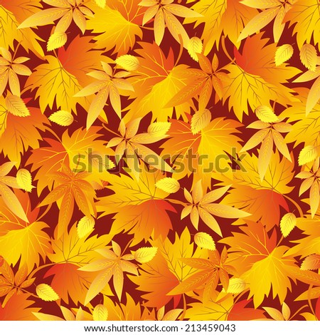 Beautiful background seamless pattern with yellow, orange, red autumn leaves. Bright stylish colorful wallpaper.