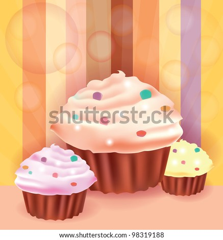 Beautiful background whit three delicious cup cakes - stock photo