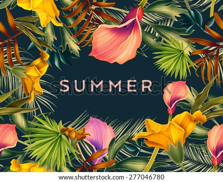 Beautiful background with tropical flowers and palm leaves, plant and leaf. With space for any text. - stock photo