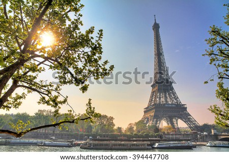 Beautiful backlit Eiffel tower in spring in Paris, France - stock photo