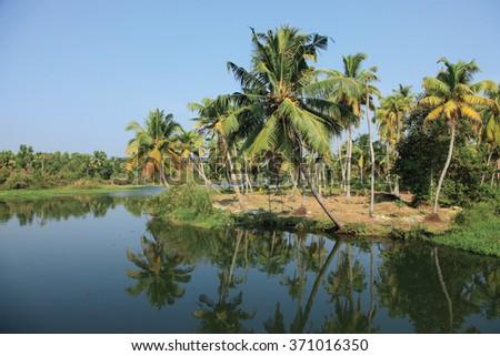 Beautiful backwater destinations of Kerala, India. - stock photo